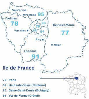 Informations sur la région d'Île-de-France, chiffres clés, les principales villes de la région
